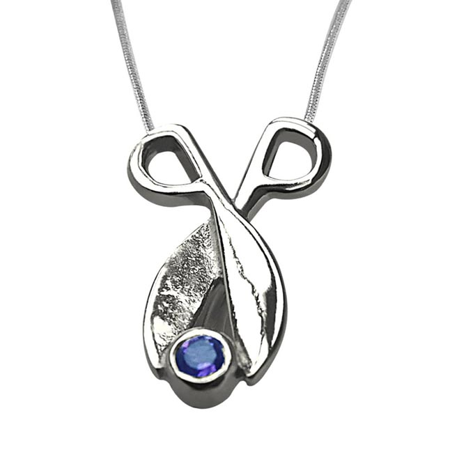 Amethyst Beautifully set in Sterling Silver Pendant with 18 IN Chain