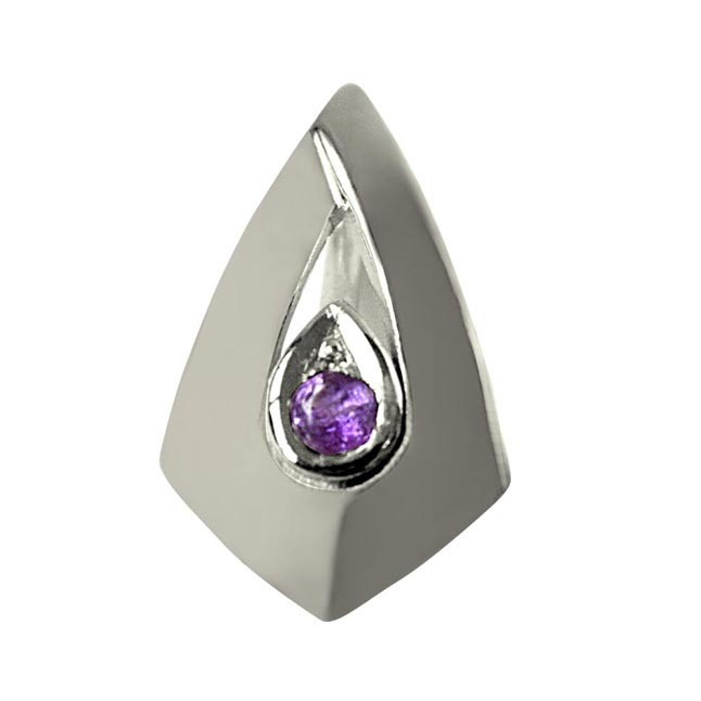 Amethyst Pendant Set in Sterling Silver with 18 IN Chain