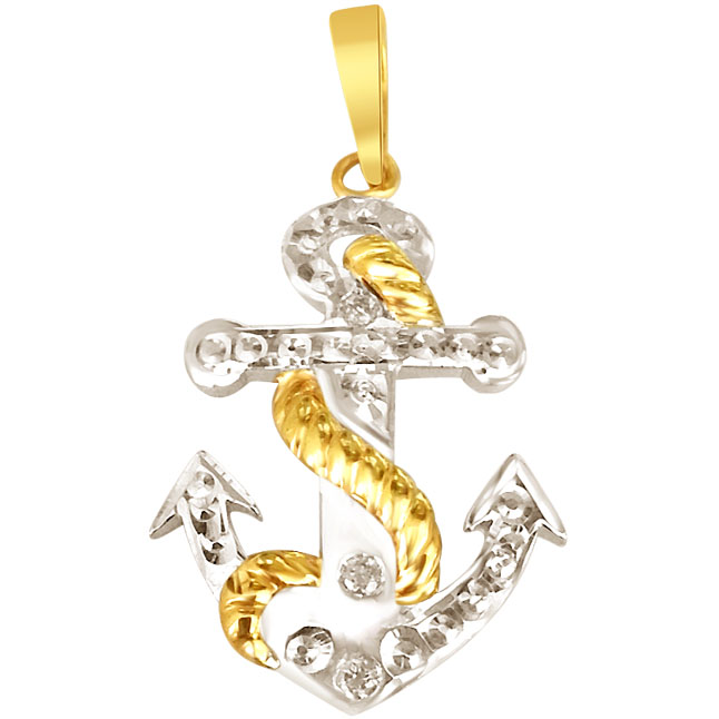 Diamond & Silver Anchor Pendant - Sport Collection
