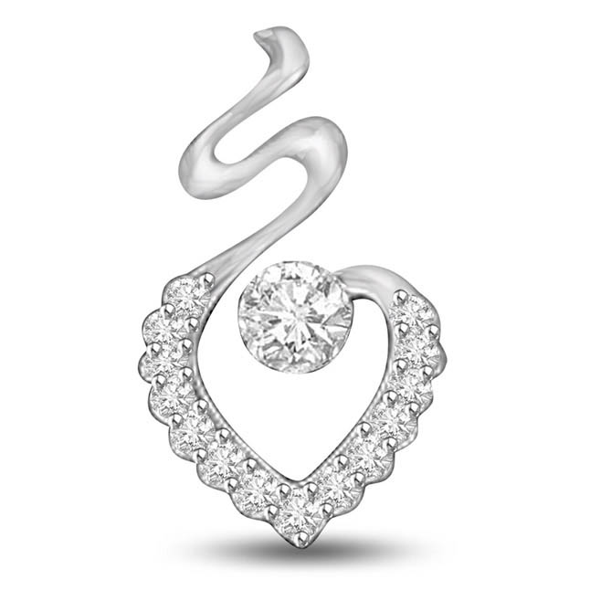 Angel's Heart 0.22ct White Gold Diamond Solitaire Pendants for Her