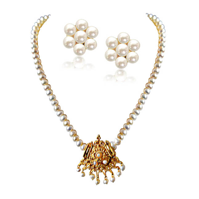 Aparna - Gold Plated Pendant & Single Line Real Pearl Necklace with Kuda Jodi Earrings for Women (SN724)