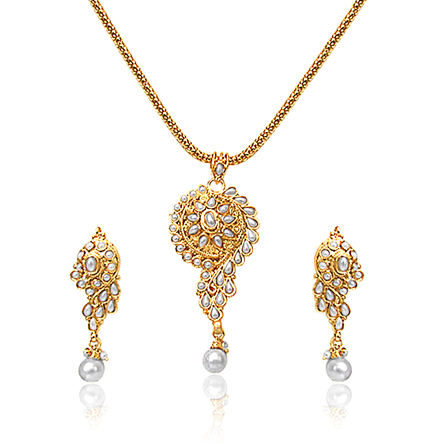 Shell Pearl & Gold Plated Set -AS2 -Fashion Jewellery Set