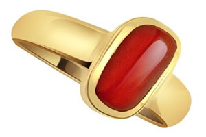 Astrology Fine Coral rings Set In Gold -Navratna+Gemstone