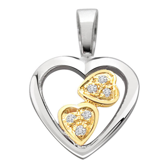 Awesome Threesome Hearts -0.03 cts Heart Shaped Two Tone Diamond Pendants