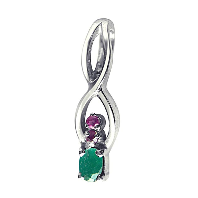 Back to Nature Red Ruby, Green Emerald & Sterling Silver Pendant with 18 IN Chain