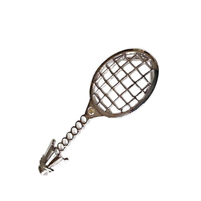 Badminton Racket & Shuttlecock Charm Diamond Pendants Set in Silver -Sport Collection