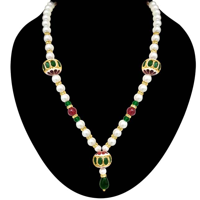 Beautiful Kundan Beads, Shell Pearl & Coloured Stone Necklace -Necklace