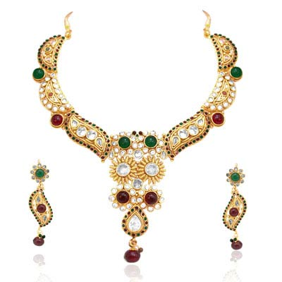 Beautiful Maharani Style Rajasthani Polki Necklace Earrings Set