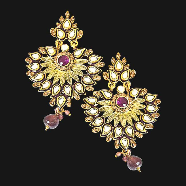 Beautiful Floral Designed Polki, Purple Stone & Gold Plated Hanging Earrings