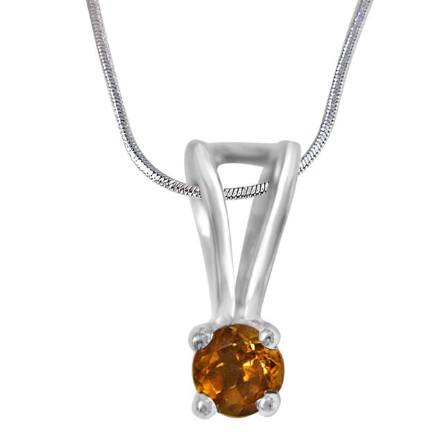 Beauty Queen Golden Yellow Citrin & Sterling Silver Pendant with 18 IN Chain