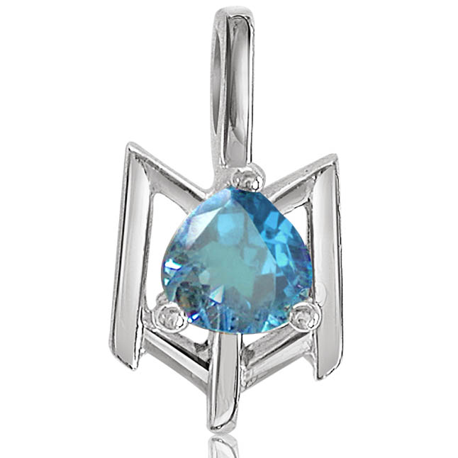 Beguiling Blue Topaz -Gemstone Pendants