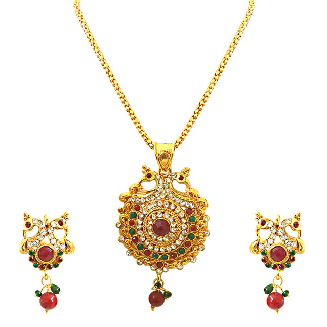 Bejewelled Peacocks -Pendants Necklace & Earrings Set