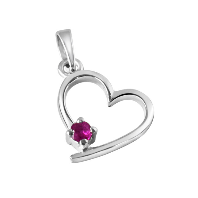 Believe In Miracles Red Ruby & Sterling Silver Pendant with 18 IN Chain