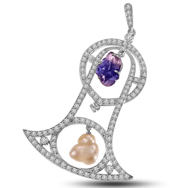 Bell shaped Diamond & Amethyst & Pearl Pendants in White Gold -White Gold