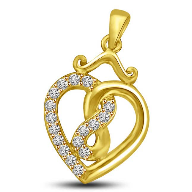 Beloved n Beautiful 0.15 cts Heart Shape Diamond Pendants