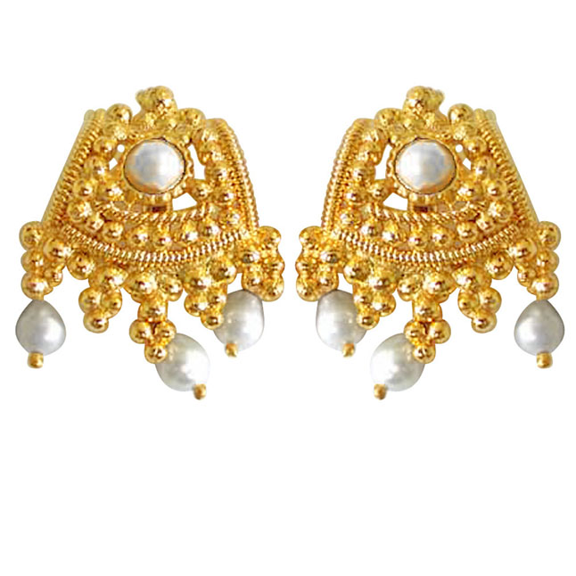 Besotting Beauty Pearl Earrings -Temple Design