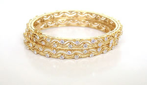 Trendy Twister 3.52cts Fine Round Diamond Bangle Pair -Diamond Bangles