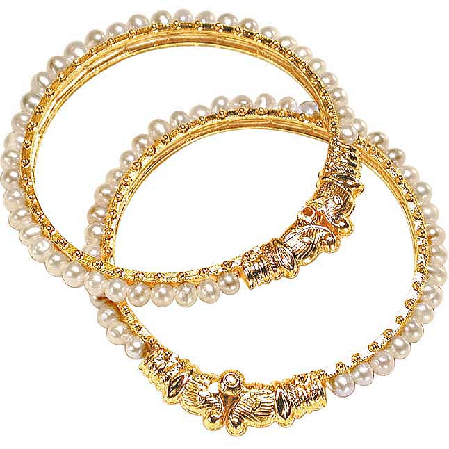 Pleasure - Real Freshwater Pearl & Gold Plated Lion Motif Bangles for Women (BGP1)