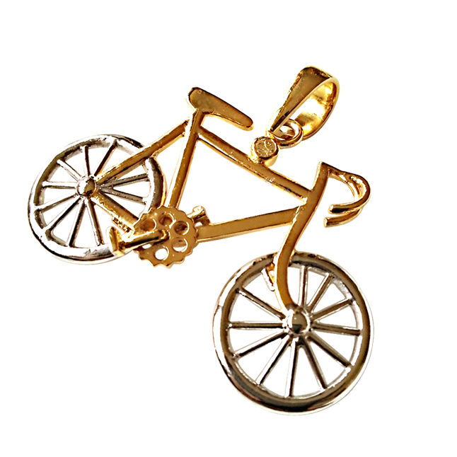 Bicycle Charm -Diamond & Silver Pendants -Sport Collection
