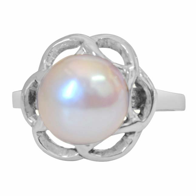 Big Round 5.00 cts Real Pearl & 925 Sterling Silver rings for Astrological Power for All
