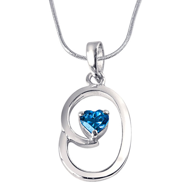 "Bless Our Nest Heart Shaped Blue Topaz & Sterling Silver Pendants with 18"" Chain"