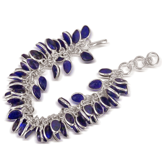 Blue Coloured Stone Bracelet in Silver Plated Metal -Bangles -Bracelets