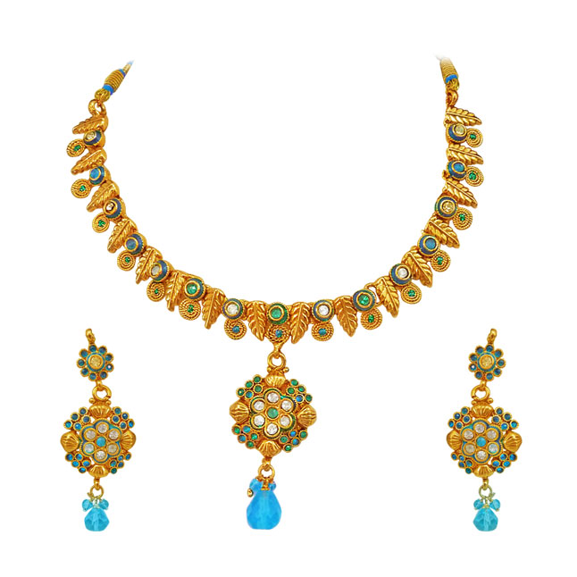 Blue coloured Stone & Gold Plated Necklace & Earrings Set