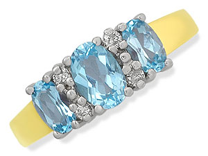 Blue Dazzled Three Stone Diamond & Blue Topaz rings -Gemstone & Diamond