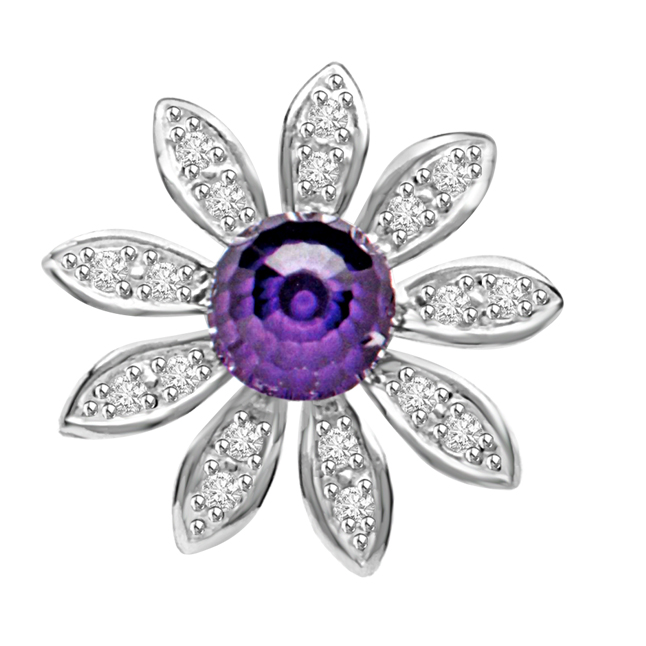 Blue Floral Twinkle Amethyse & Diamond Flower Beautiful Passionate Diamond Pendants -Designer Pendants