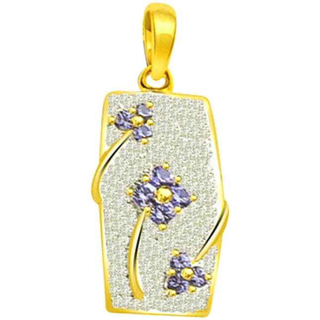 Blue Flower Glitter -0.70ct Trendy Diamond & Sapphire 18kt Gold Pendants