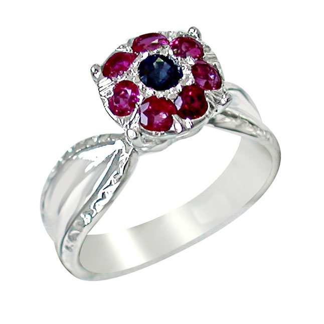 Blue sapphire & Red Ruby in Flower Shaped Silver rings
