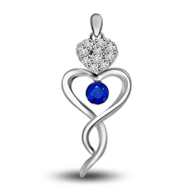Blue Heart:Diamond & Sapphire White Gold Heart Shape Pendants For Her