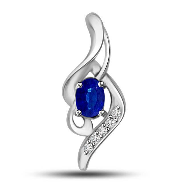 Blue Magic:Diamond & Oval Blue Sapphire White Gold Fancy Pendants
