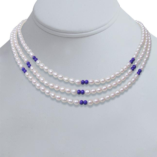 Blue Lapiz Love -2 To 3 Line Necklace