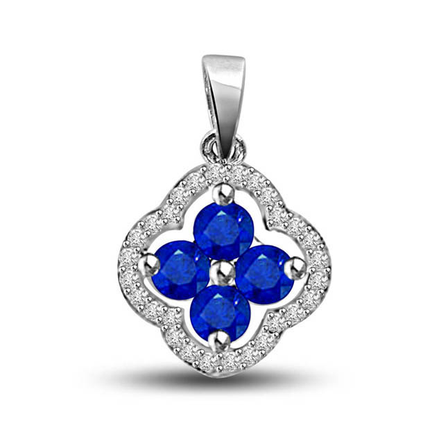 Blue Passion:Diamond & Sapphre Flower Pendants In White Gold For Her