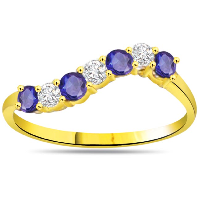 Blue Petals 0.10ct Diamond & Sapphire Gold Ring SDR1051