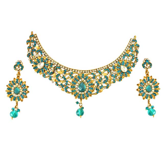 Blue & White Coloured Stone & Gold Plated Necklace Earrings & Manga Tikka Set for Women
