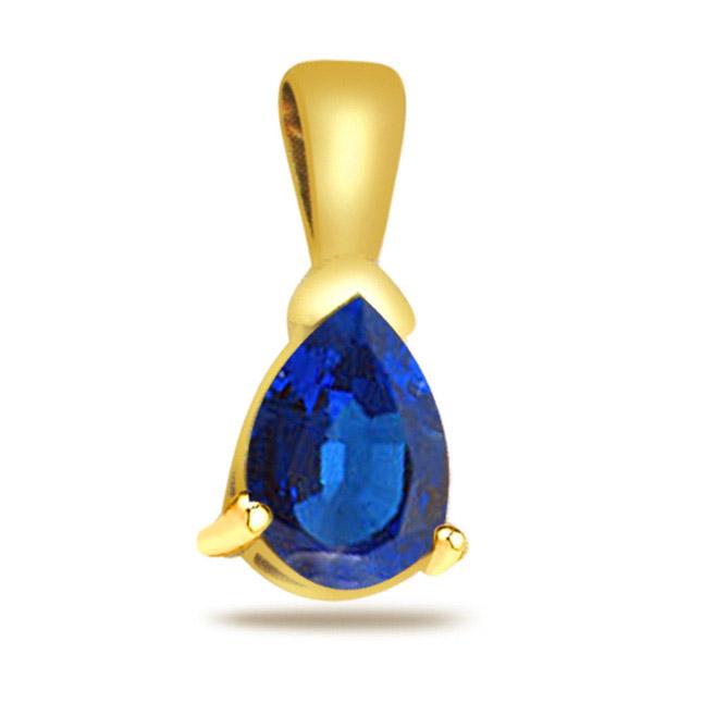 Blue Star -1.00ct Blue Sapphire Gold Pendants