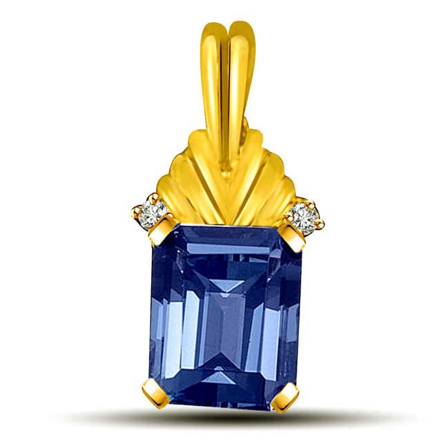Blue Topaz with Diamond accents Gold Pendants -Dia+Gemstone