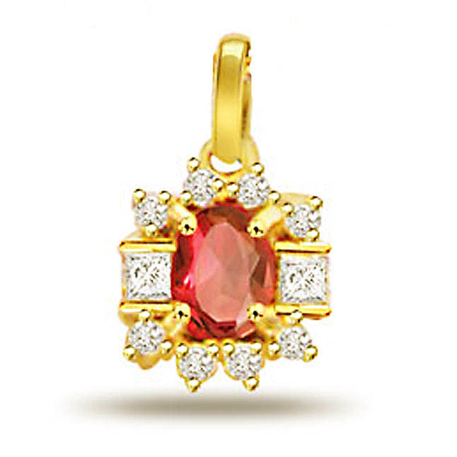 Blushing 0.20ct Ruby Diamond Pendants -Diamond -Ruby