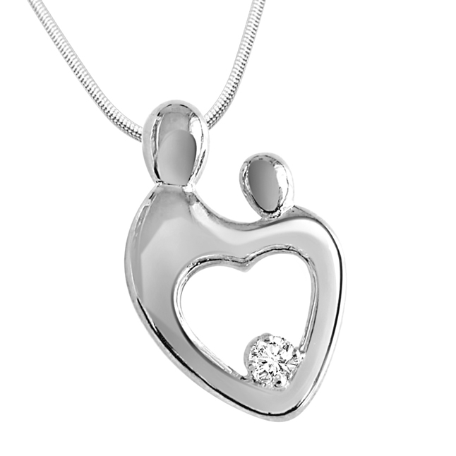 "Bond Forever -Real Diamond & Sterling Silver Pendants with 18"" Chain"