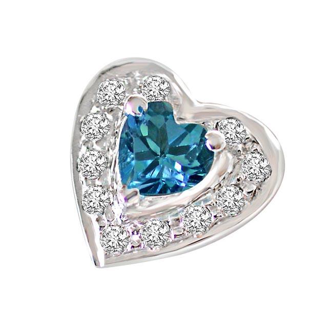 Bond of Blisful Love Real Diamond & Heart Shaped Topaz Silver Earrings -Designer Earrings