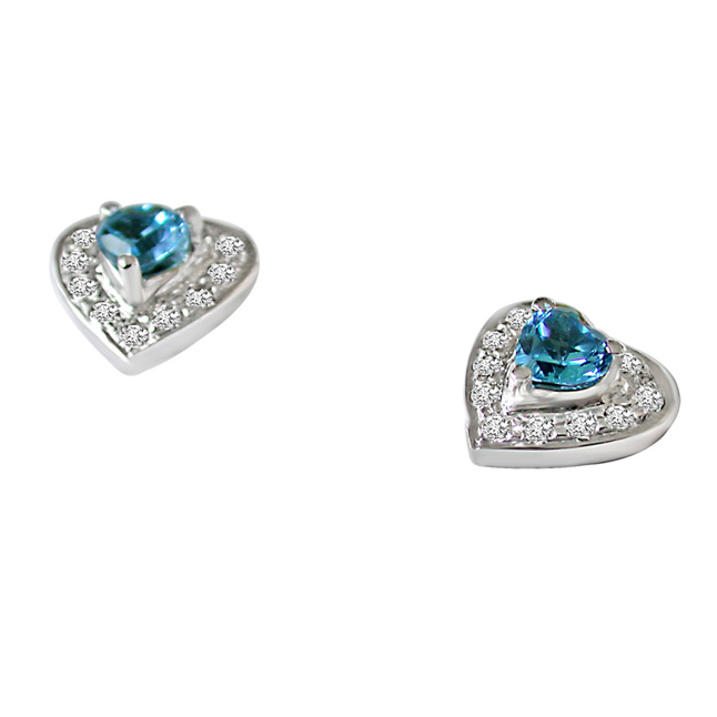Bond of Blisful Love Real Diamond & Heart Shaped Topaz Silver Earrings -Designer Earrings