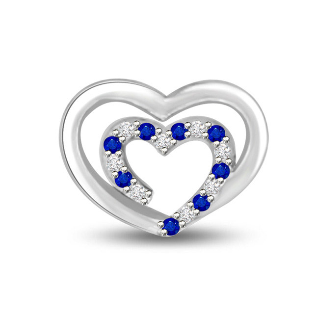 Bond of TWO Hearts Diamond & Blue Sapphire White Gold Heart Penadnt in 14k