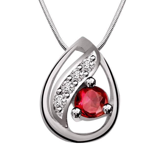"Bowl of Fun -Red Ruby, Real Diamond & Sterling Silver Pendants with 18"" Chain"