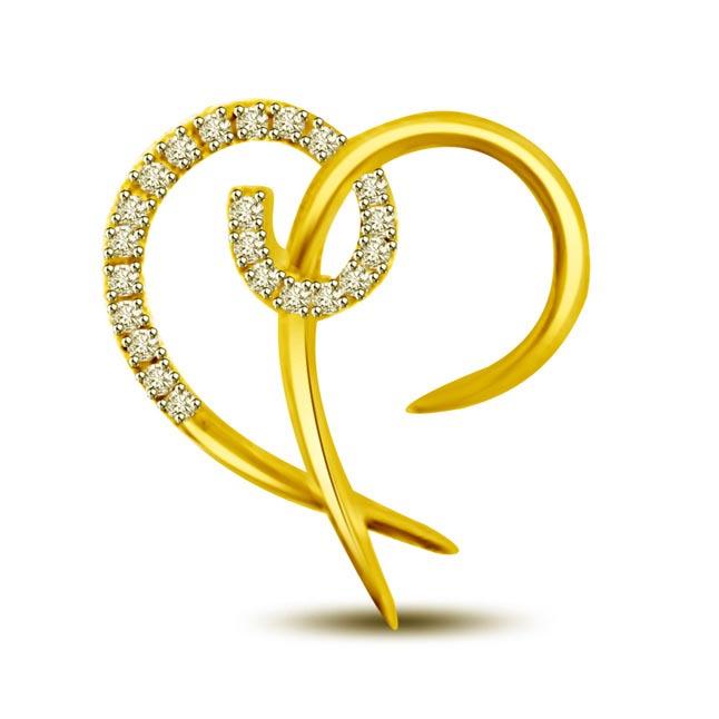 Breaking My Heart 0.30 cts Heart Shape Diamond Pendants