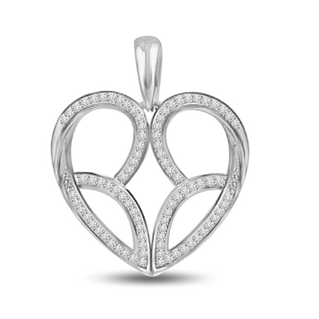 Bride Choice 0.30CT Pave Set White Gold Diamond Heart Pendants