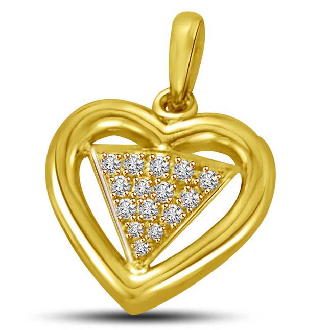 Bride's Pride Diamond Triangle in Heart shaped Gold Pendants for My Love