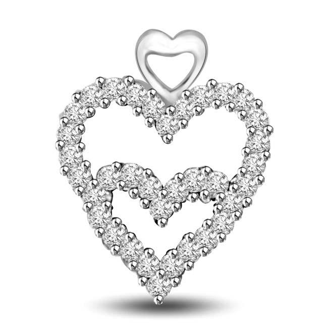 Bridge between Two Hearts 14k Diamond Heart Pendants