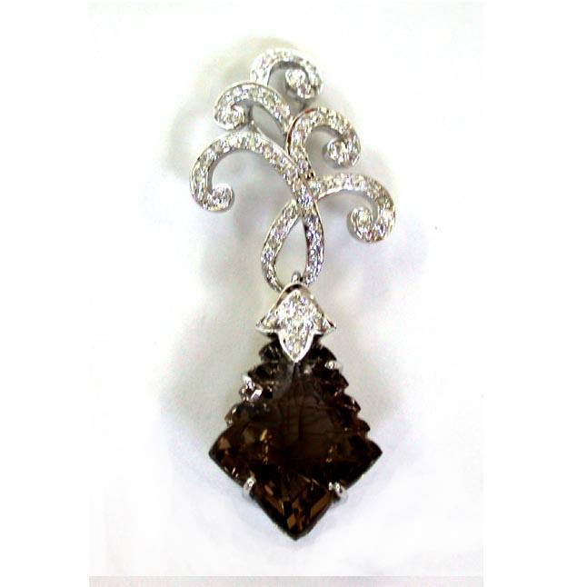 Night Bird -Smoky Topaz Diamond Pendants -White Rhodium Pendants